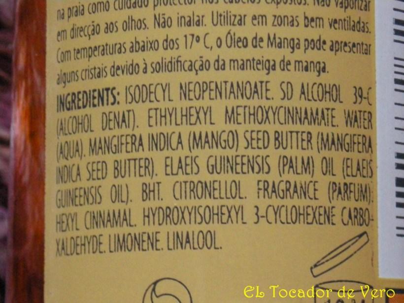 Ingredientes del Aceite de Mango de Klorane