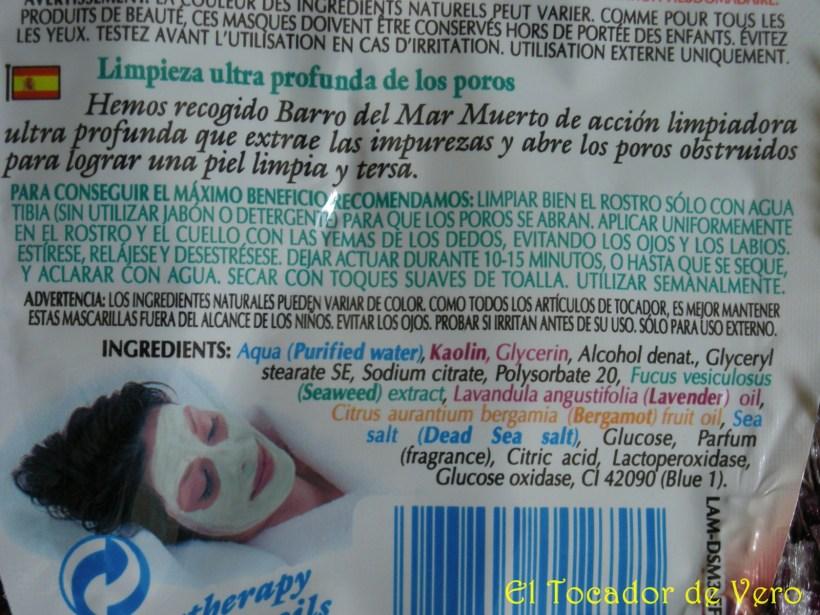 Detalle de los ingredientes de la Mascarilla del mar muerto de Montagne Jeunesse