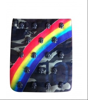 Army rainbow skull funda ipad