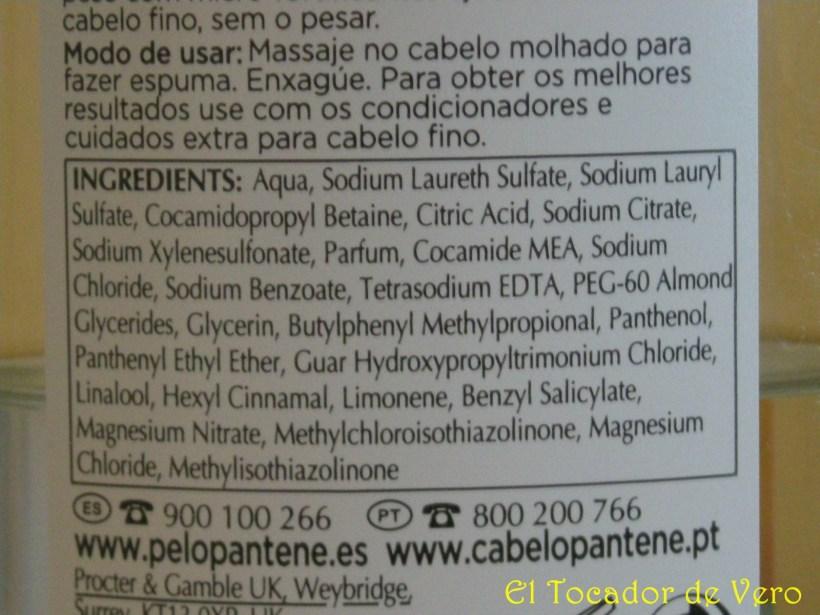 Detalle ingredientes Champú Pantene Aqualight