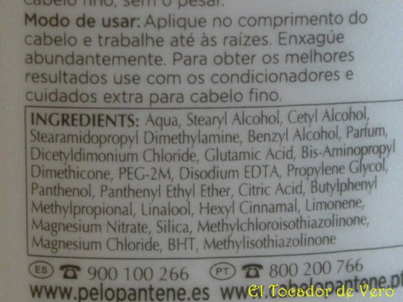 Ingredientes acondicionador Pantene Aqualight