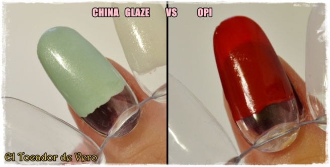Comparativa de cobertura entre un tono claro de China Glaze (Keep calm paint on) y otro más intenso de OPI (The Thrill of Brazil)