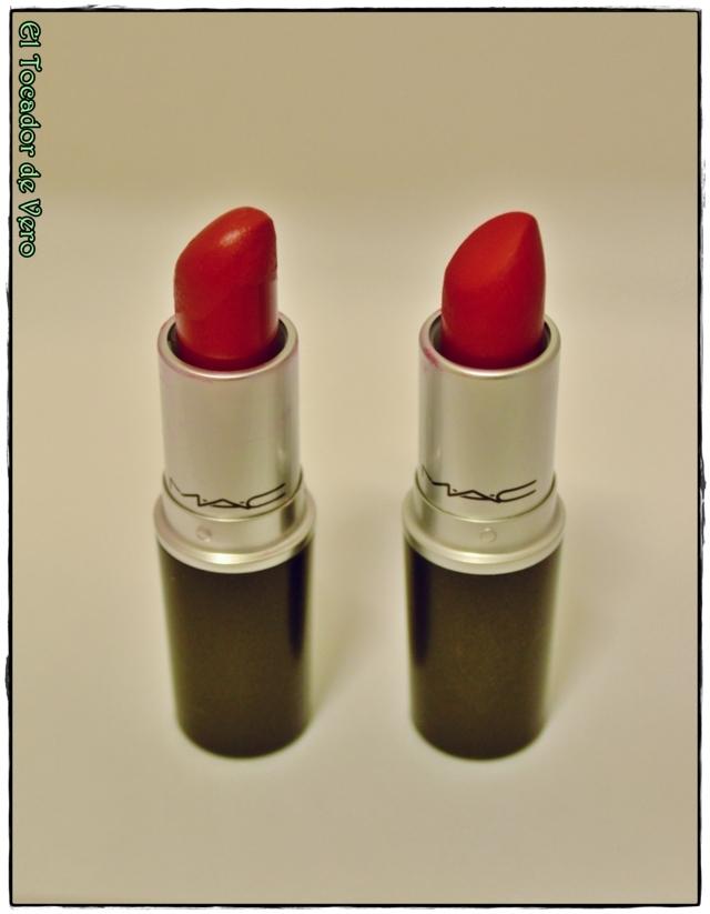 A la derecha el Russian Red y a la izquierda el Ruby Woo. A simple vista cuesta distinguirlos, pero tienen diferencias.