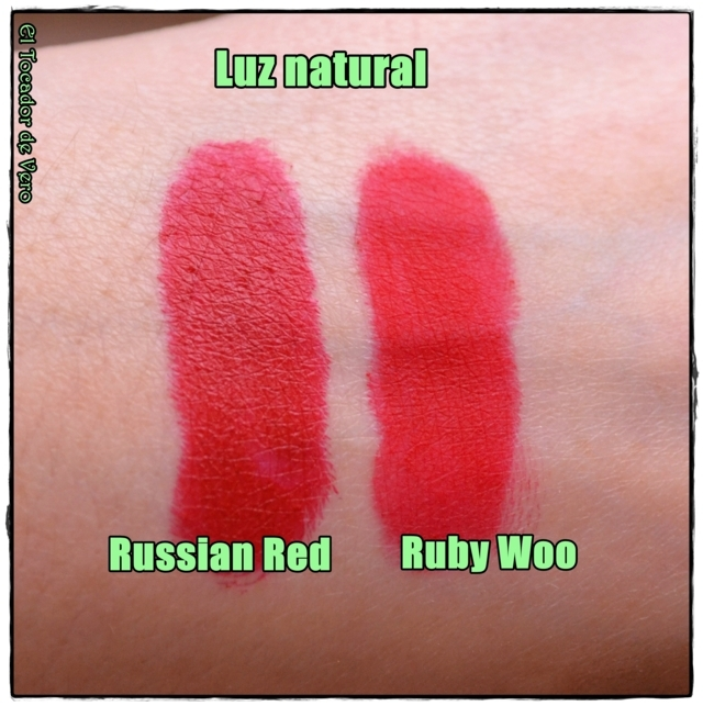 Russian Red vs Ruby Woo de MAC Cosmetics