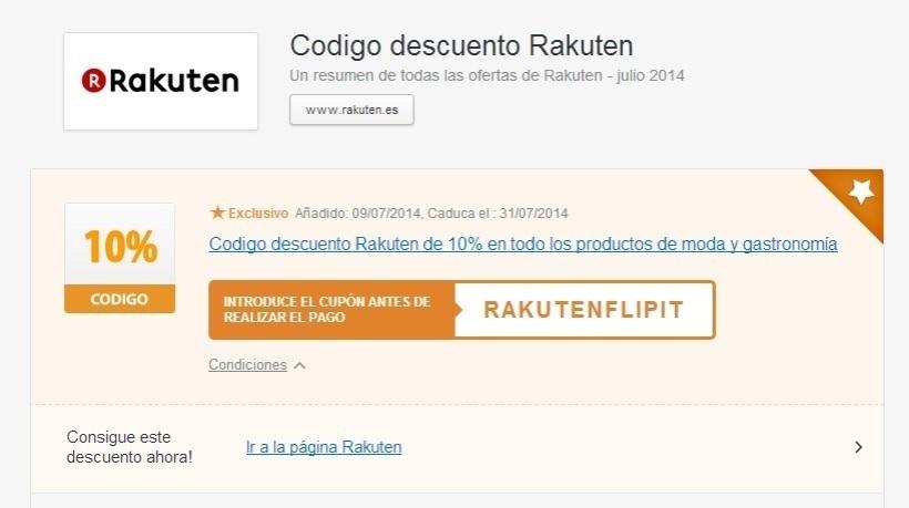 cupon descuento Flipit Rakuten